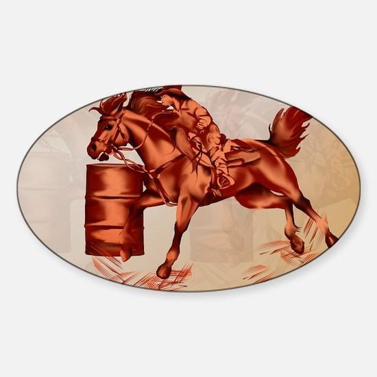 Barrel Racing-Yardsign Sticker (Oval)