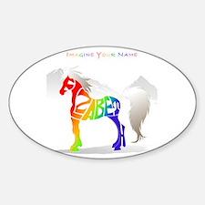 Elizabeth rainbow horse Oval Decal