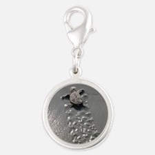 Baby Turtle Silver Round Charm
