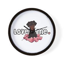 Love Me Doberman Wall Clock
