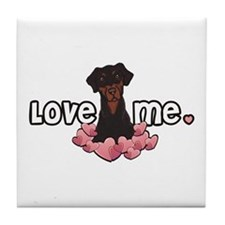 Love Me Doberman Tile Coaster