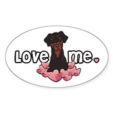 Love Me Doberman Oval Decal
