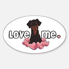 Love Me Doberman Oval Decal