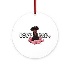 Love Me Doberman Ornament (Round)