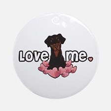 Love Me Doberman Ornament (Round)