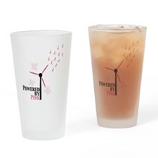 Powered By Pink Drinking Glass