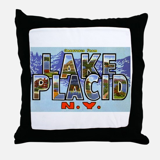 Lake Placid New York Throw Pillow