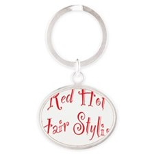 Red Hot Hair Stylist Oval Keychain