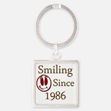 smiling 86 Square Keychain
