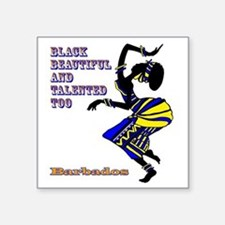 "BLACK BEAUTIFUL BARBADOS Square Sticker 3"" x 3"""