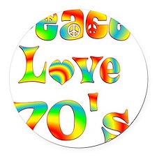 6-70s Round Car Magnet