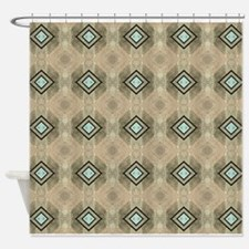 Aqua And Taupe Shower Curtains