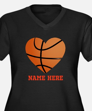 Basketball L Women's Plus Size V-Neck Dark T-Shirt