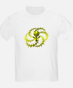 Yellow Crop Circle with Alien Face Kids T-Shirt