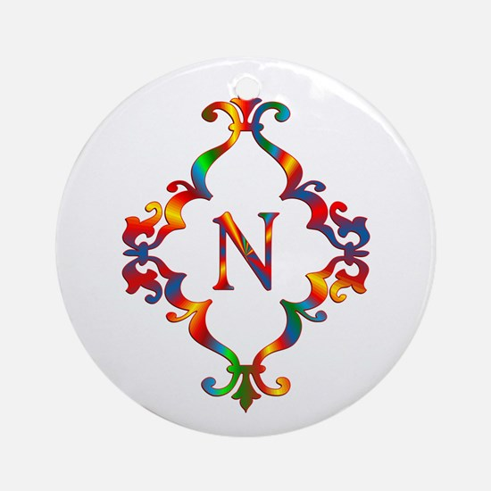 Colorful Letter N Monogram Initial Round Ornament