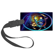 Blue Galaxy Dragon-oval_sticker Luggage Tag