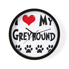I-Love-My-Greyhound Wall Clock