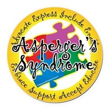 Asperger-Syndrome-Puzzle-Pin Round Car Magnet