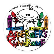 Aspergers-Syndrome-Crayons Round Car Magnet