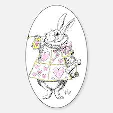 white rabbit 001 Sticker (Oval)