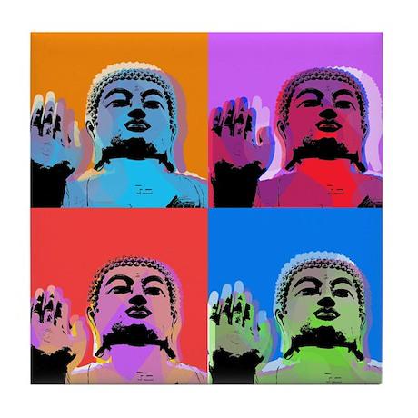 Buddha Pop Art Warhol style Tile Coaster