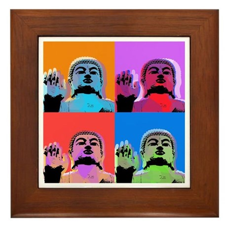 Buddha Pop Art Warhol style Framed Tile