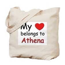 My heart belongs to athena Tote Bag