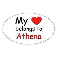 My heart belongs to athena Oval Decal