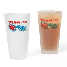 Flaming Dice Drinking Glass