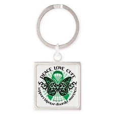 Bipolar-Disorder-Butterfly-Tribal- Square Keychain