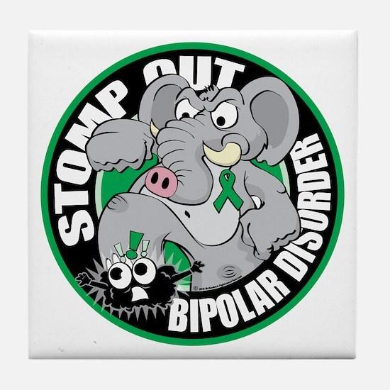 Stomp-Out-Bipolar-Disorder-Circle Tile Coaster