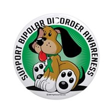 Bipolar-Disorder-Dog Round Ornament