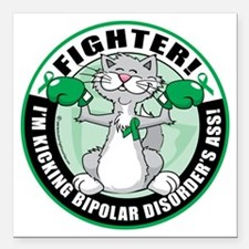 "Bipolar-Disorder-Cat-Fig Square Car Magnet 3"" x 3"""