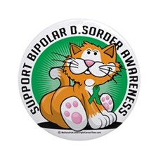 Bipolar-Disorder-Cat Round Ornament
