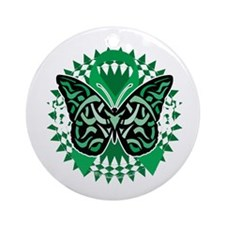Bipolar-Disorder-Butterfly-Tribal-2 Round Ornament