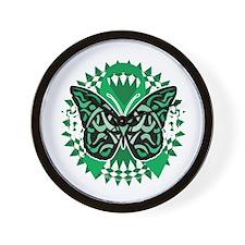 Bipolar-Disorder-Butterfly-Tribal-2-blk Wall Clock