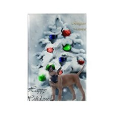 belgian malinois christmastext Rectangle Magnet