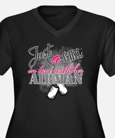 Just a girl  Women's Plus Size Dark V-Neck T-Shirt