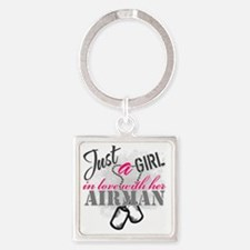 Just a girl Airman Square Keychain