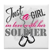 Just a girl Soldier Tile Coaster