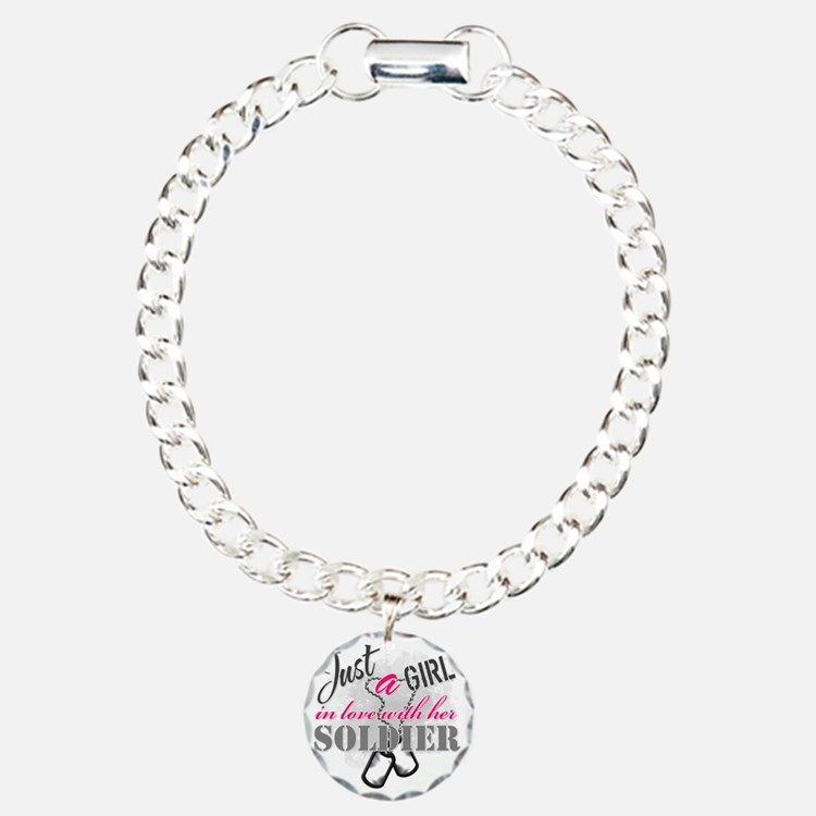 Just a girl Soldier Charm Bracelet, One Charm