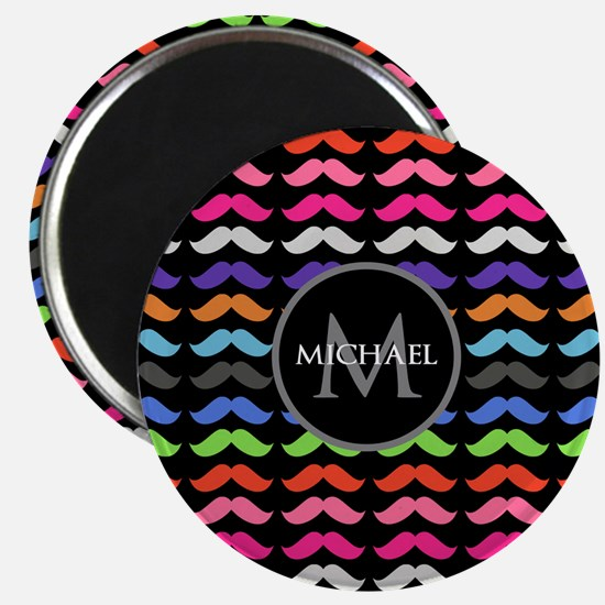 Girly Colorful Mustache Pattern Monogram Magnet