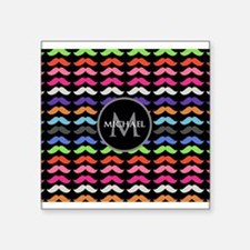 Girly Colorful Mustache Pattern Monogram Square St