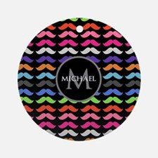 Girly Colorful Mustache Pattern Monogram Ornament
