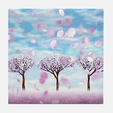 Sakurama - Cherry trees Tile Coaster