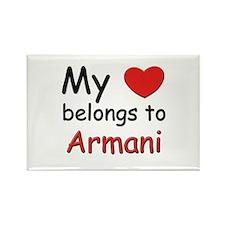 My heart belongs to armani Rectangle Magnet