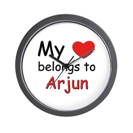 My heart belongs to arjun Wall Clock