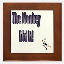 The monkey did it Framed Tile