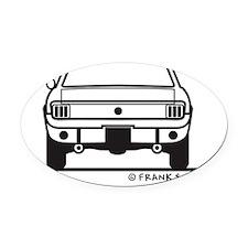 65 Mustang_Back_Blk Oval Car Magnet