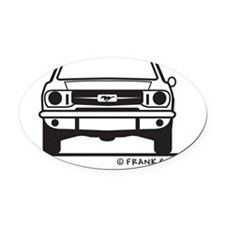 65 Mustang_Fr_Blk Oval Car Magnet